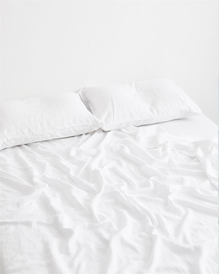 White 100% Flax Linen Fitted Sheet - Bed Threads