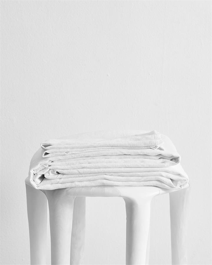 White 100% Flax Linen Sheet Set - Bed Threads