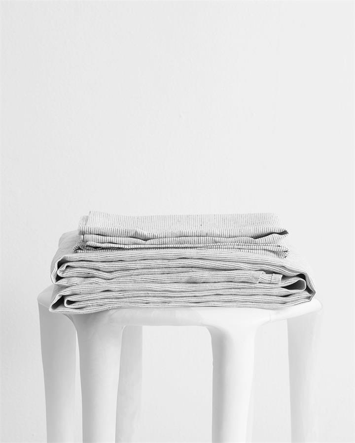 Pinstripe 100% Flax Linen Sheet Set - Bed Threads