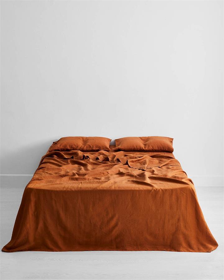 Rust 100% Flax Linen Flat Sheet - Bed Threads