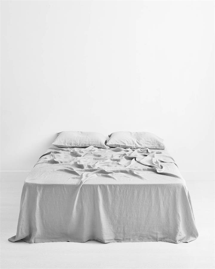 Fog 100% Flax Linen Flat Sheet - Bed Threads