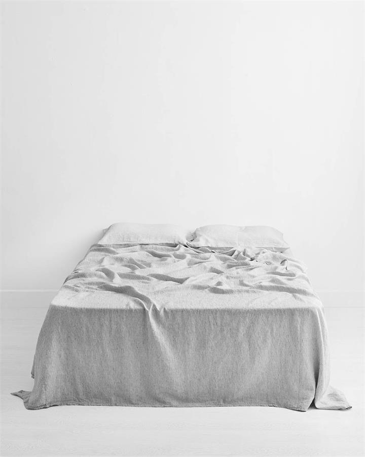 Pinstripe 100% Flax Linen Flat Sheet - Bed Threads