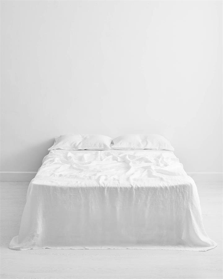 White 100% Flax Linen Flat Sheet - Bed Threads