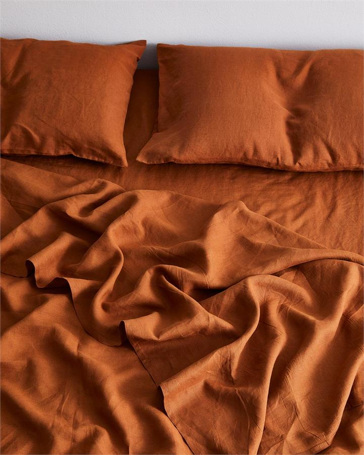 Rust 100% Flax Linen Fitted Sheet - Bed Threads