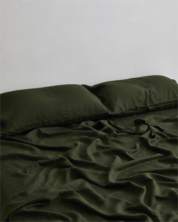 Olive 100% Flax Linen Fitted Sheet - Bed Threads