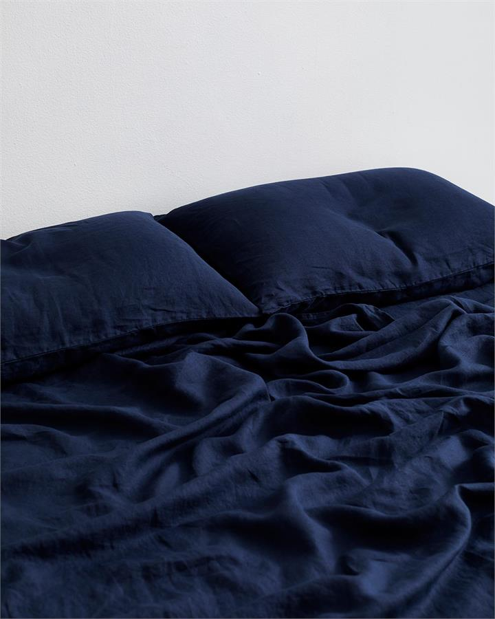 Ink 100% Flax Linen Fitted Sheet - Bed Threads