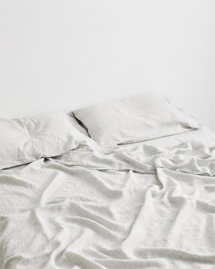 Pinstripe 100% Flax Linen Fitted Sheet - Bed Threads