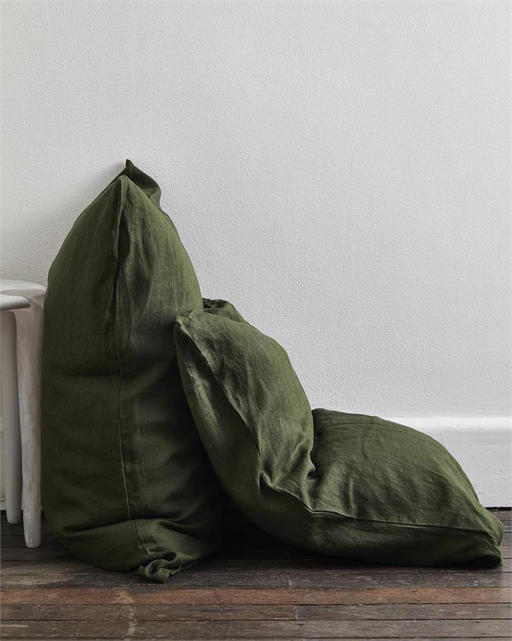 Olive 100% Flax Linen Pillowcases (Set of Two) - Bed Threads