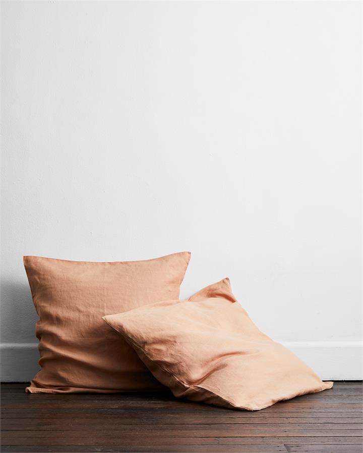 Terracotta 100% Flax Linen European Pillowcases (Set of Two) - Bed Threads