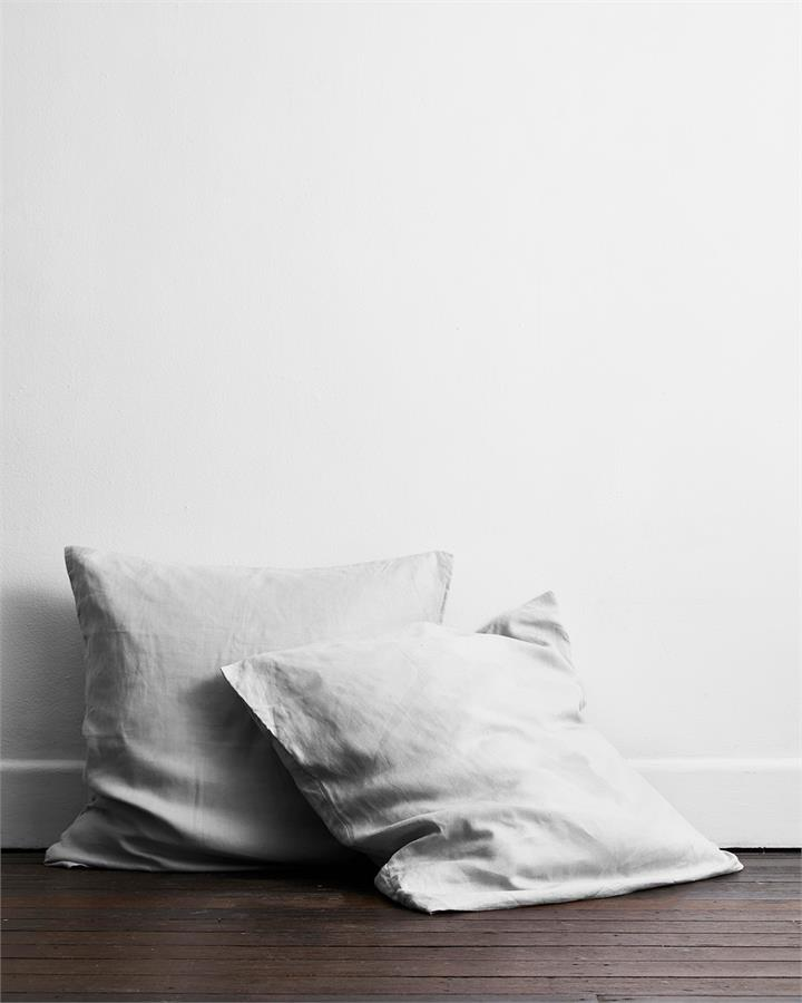 Fog 100% Flax Linen European Pillowcases (Set of Two) - Bed Threads