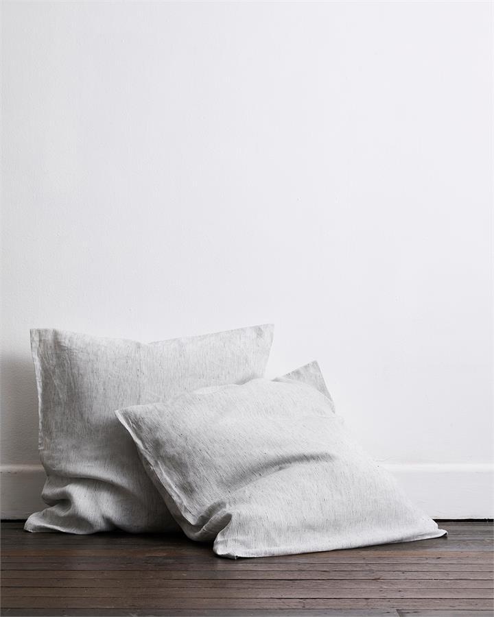Pinstripe 100% Flax Linen European Pillowcases (Set of Two) - Bed Threads