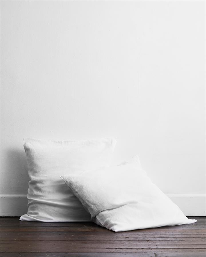 White 100% Flax Linen European Pillowcases (Set of Two) - Bed Threads