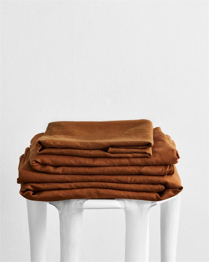 Rust 100% Flax Linen Sheet Set - Bed Threads