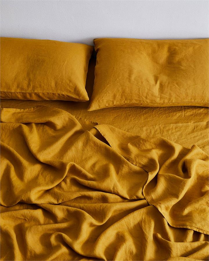 Turmeric 100% Flax Linen Fitted Sheet - Bed Threads