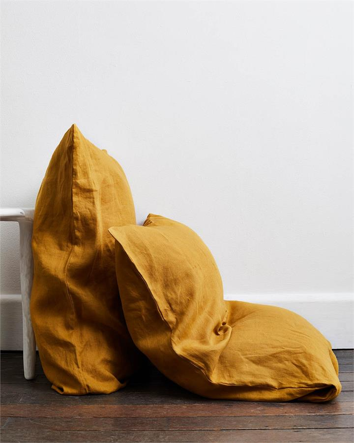 Turmeric 100% Flax Linen Pillowcases (Set of Two) - Bed Threads