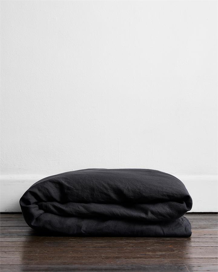 Charcoal 100% Flax Linen Duvet Cover - Bed Threads