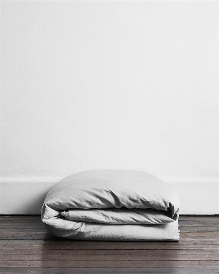 Fog 100% Flax Linen Duvet Cover - Bed Threads