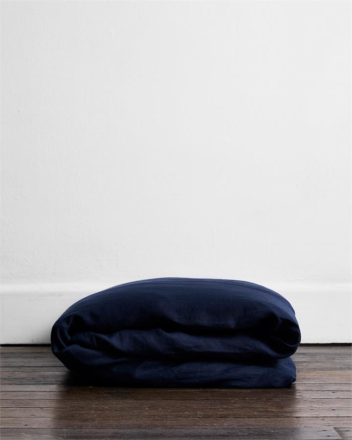 Ink 100% Flax Linen Duvet Cover - Bed Threads