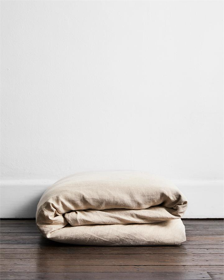 Oatmeal 100% Flax Linen Duvet Cover - Bed Threads