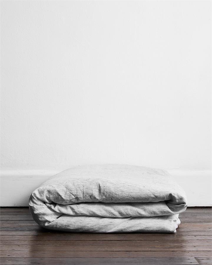 Pinstripe 100% Flax Linen Duvet Cover - Bed Threads