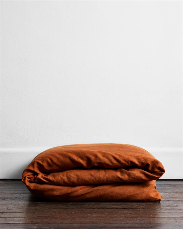 Rust 100% Flax Linen Duvet Cover - Bed Threads