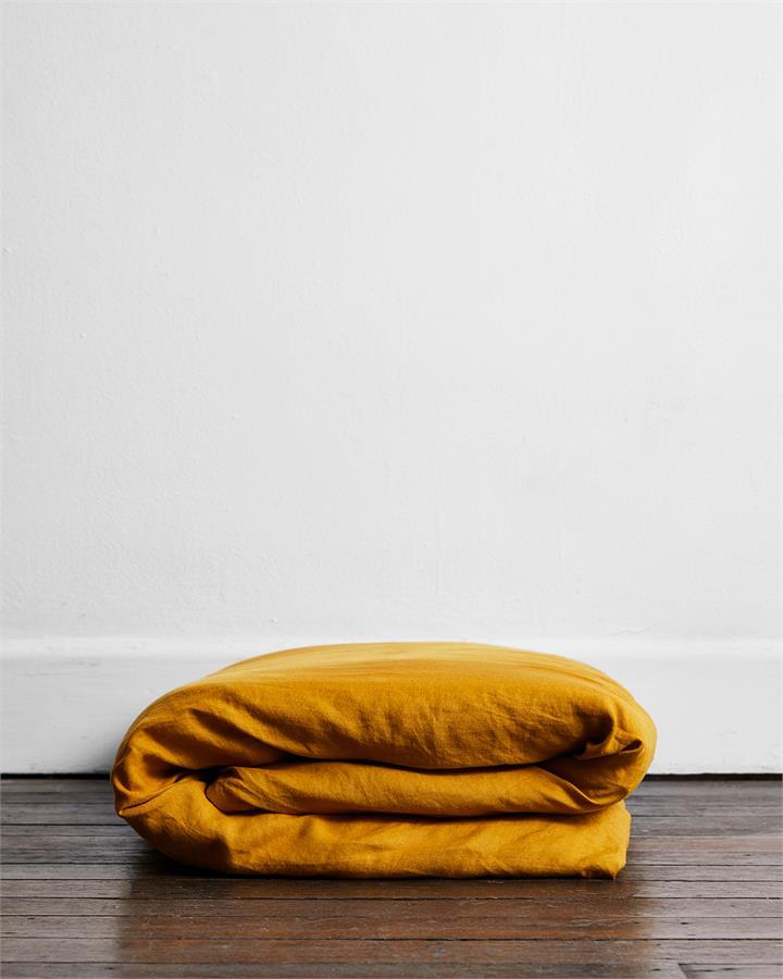 Turmeric 100% Flax Linen Duvet Cover - Bed Threads
