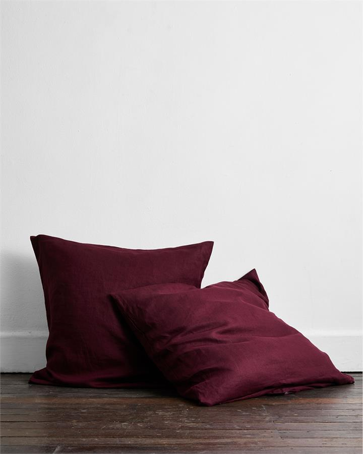 Ruby 100% Flax Linen European Pillowcases (Set of Two) - Bed Threads