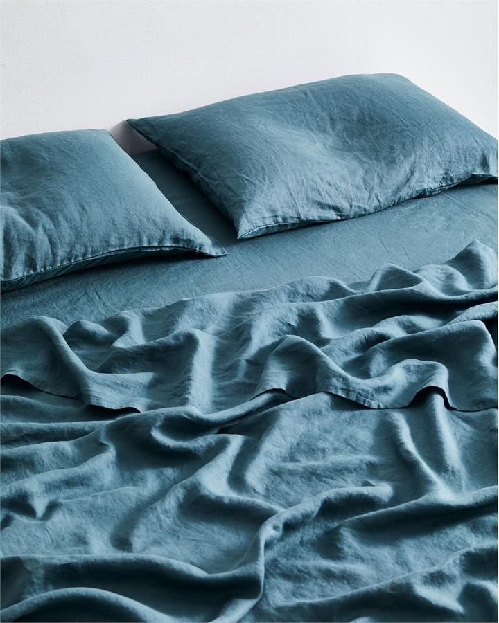 Petrol 100% Flax Linen Fitted Sheet - Bed Threads
