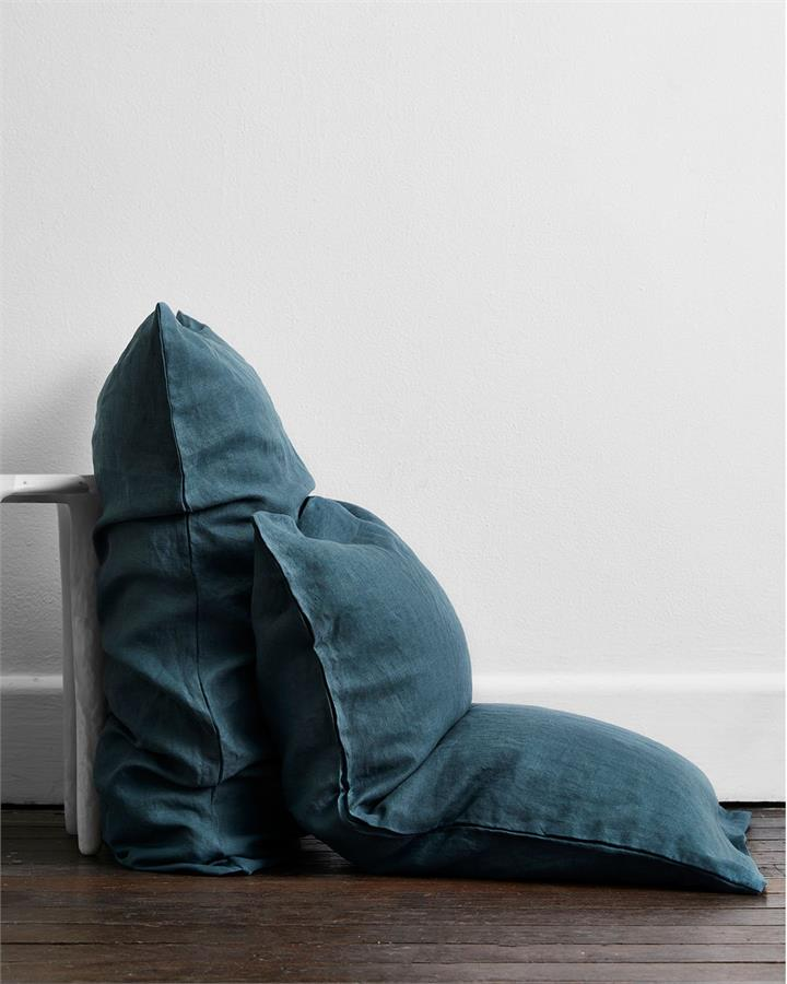 Petrol 100% Flax Linen Pillowcases (Set of Two) - Bed Threads