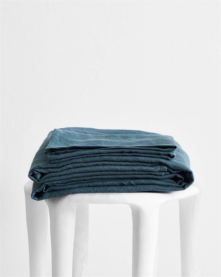 Petrol 100% Flax Linen Sheet Set - Bed Threads