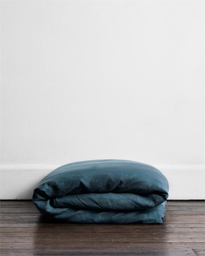 Petrol 100% Flax Linen Duvet Cover - Bed Threads