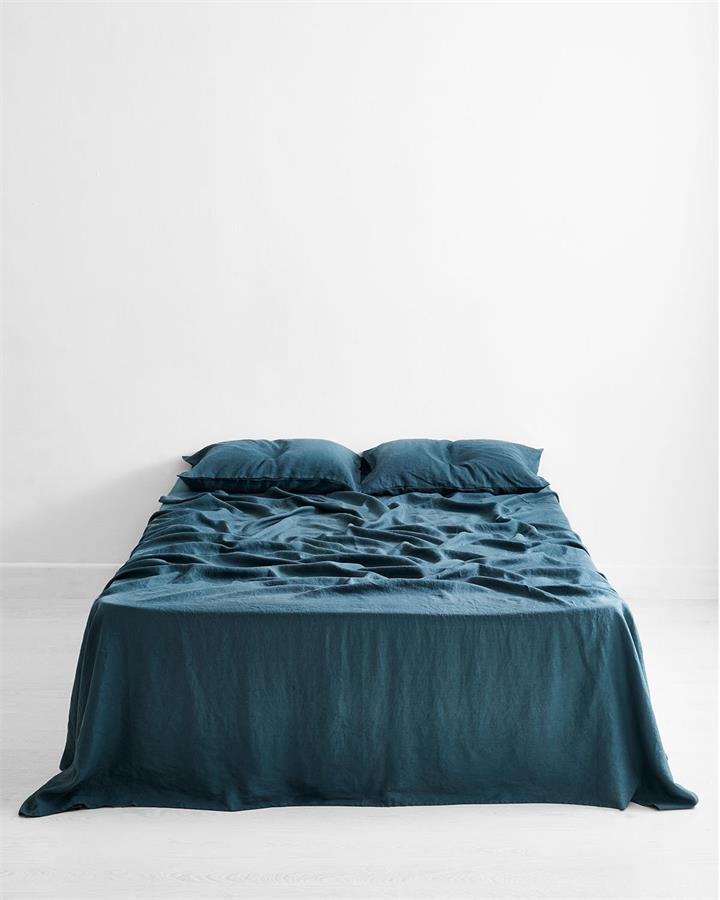Petrol 100% Flax Linen Flat Sheet - Bed Threads