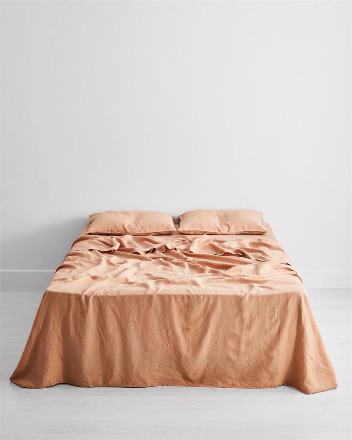 Terracotta 100% Flax Linen Flat Sheet - Bed Threads