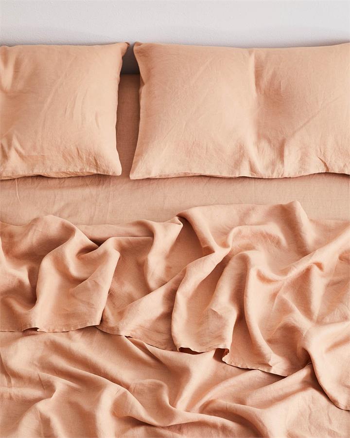 Terracotta 100% Flax Linen Fitted Sheet - Bed Threads
