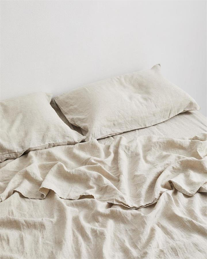 Oatmeal 100% Flax Linen Fitted Sheet - Bed Threads