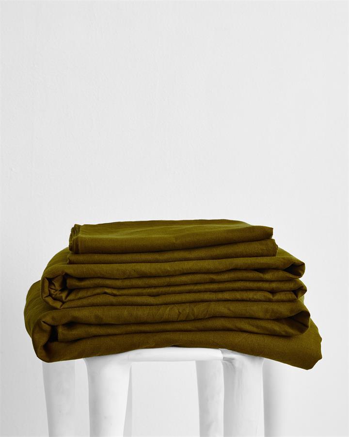 Khaki 100% Flax Linen Sheet Set - Bed Threads