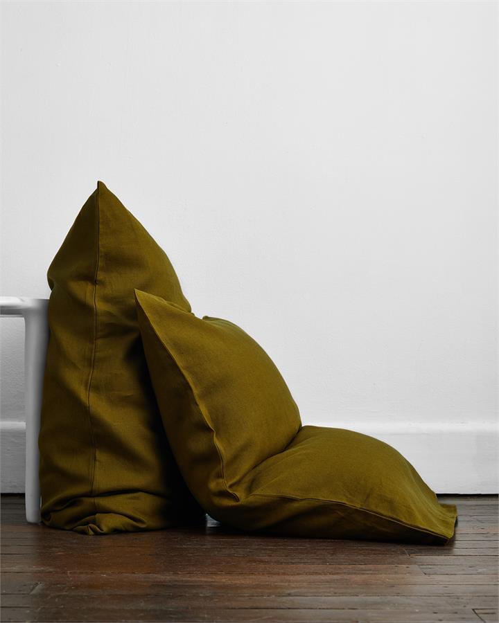 Khaki 100% Flax Linen Pillowcases (Set of Two) - Bed Threads