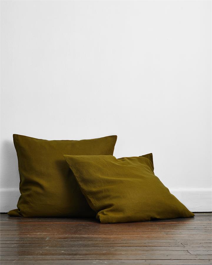 Khaki 100% Flax Linen European Pillowcases (Set of Two) - Bed Threads