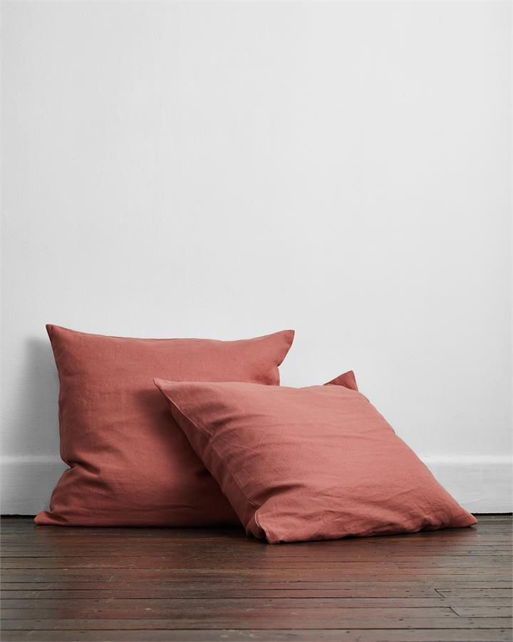 Pink Clay 100% Flax Linen European Pillowcases (Set of Two) - Bed Threads