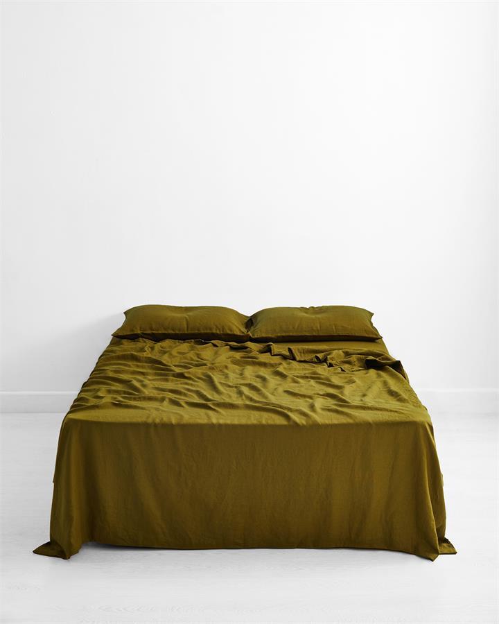 Khaki 100% Flax Linen Flat Sheet - Bed Threads