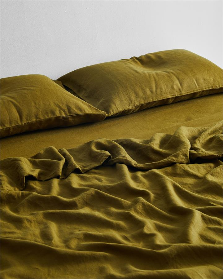 Khaki 100% Flax Linen Fitted Sheet - Bed Threads