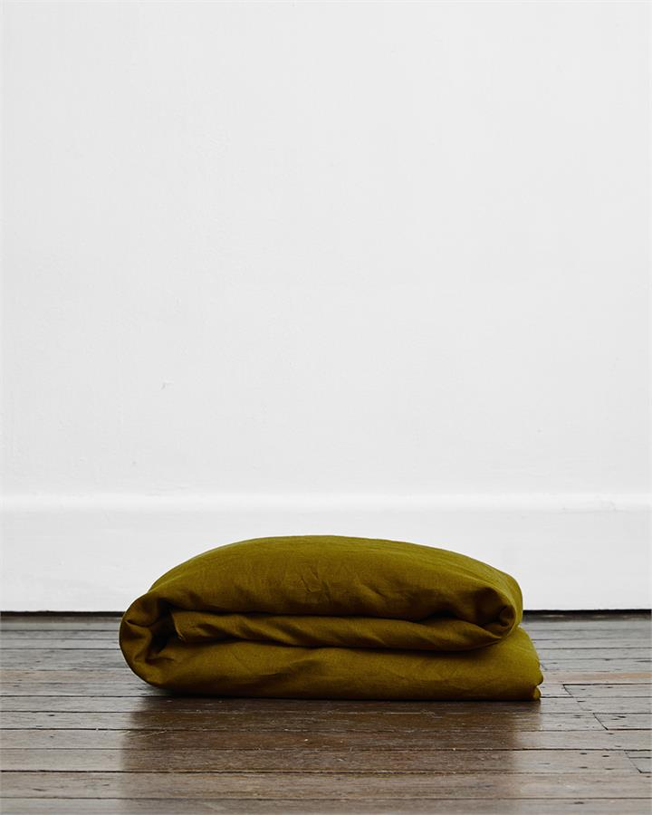 Khaki 100% Flax Linen Duvet Cover - Bed Threads