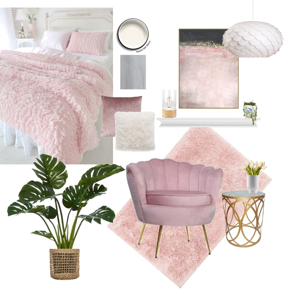 Pink Glamorous Bedroom Interior Design Mood Board by Gale Carroll on Style Sourcebook