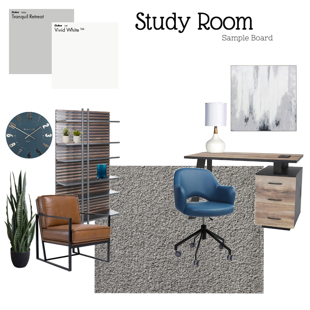 Study Room Interior Design Mood Board by katelynanderson05 on Style Sourcebook