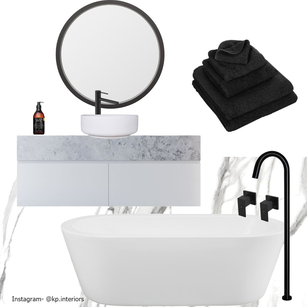 Marble & Black Fixtures Bathroom Interior Design Mood Board by Kirsty on Style Sourcebook