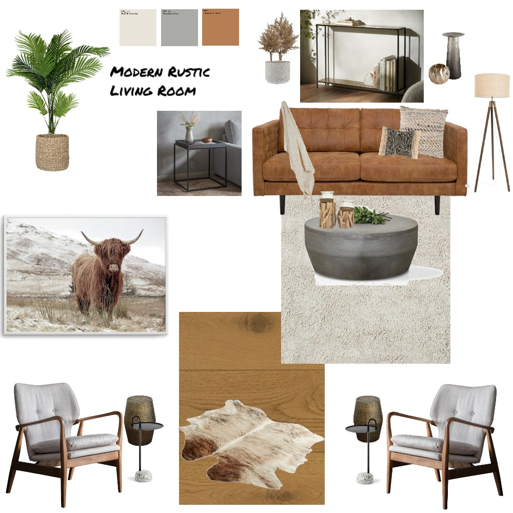 Rustic Modern Living Room Interior Design Mood Board by ambergriff1023 on Style Sourcebook