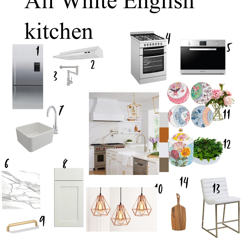 All White English Kitchen Interior Design Mood Board by Swapna mahesh on Style Sourcebook