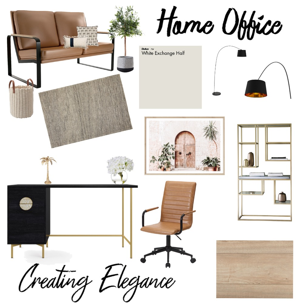 Home Office Interior Design Mood Board by Creating Elegance on Style Sourcebook