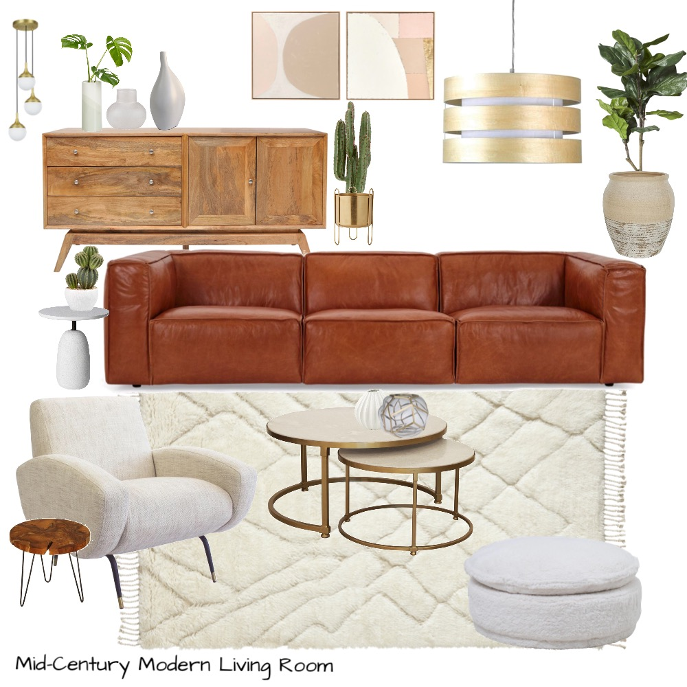 Mid-Century Modern Living Room Interior Design Mood Board by Stylefusion on Style Sourcebook