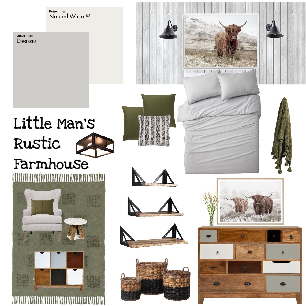 Little Man's Rustic Farmhouse Interior Design Mood Board by CBMole on Style Sourcebook